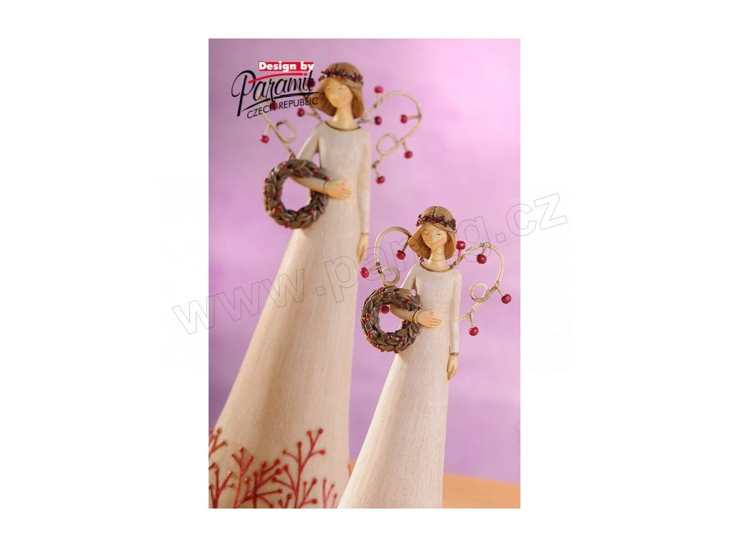 Anděl s věnečkem bílý 20 cm  - Paramit - 4120-20W