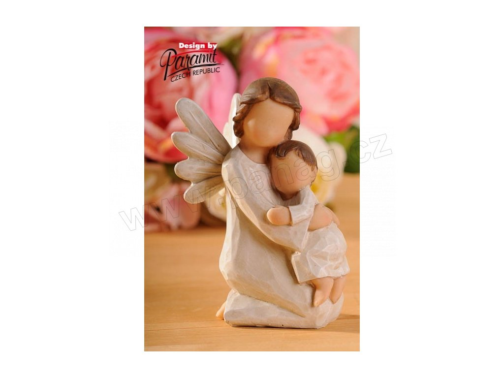 Andílek s dítětem v náručí 12 cm  - Paramit - 4130-12
