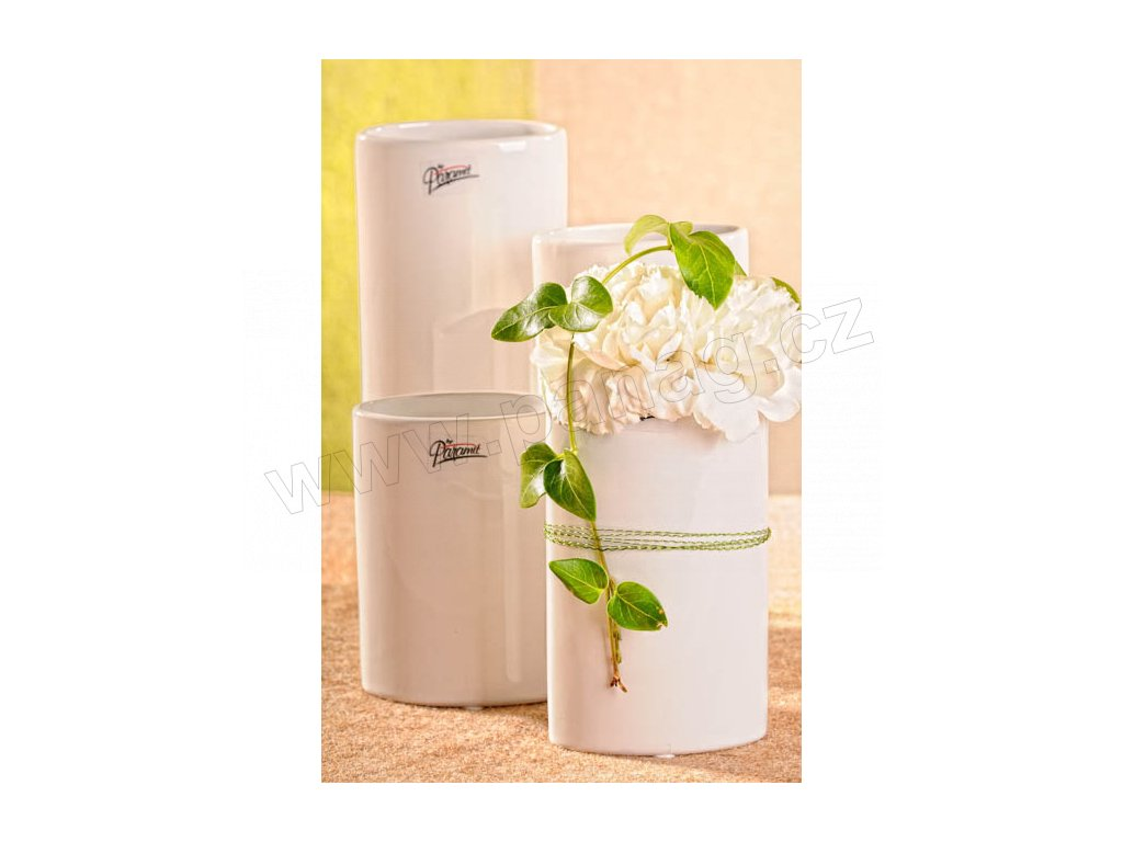 11083 15W Dita váza bílá 15 cm