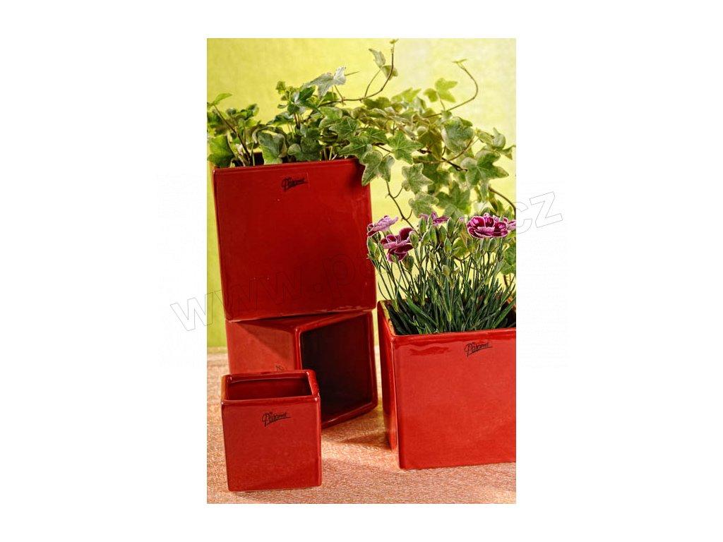 1022 08R Obal na květináč 8x8x8 cm červený na hyacinty, narcisy a tulipány