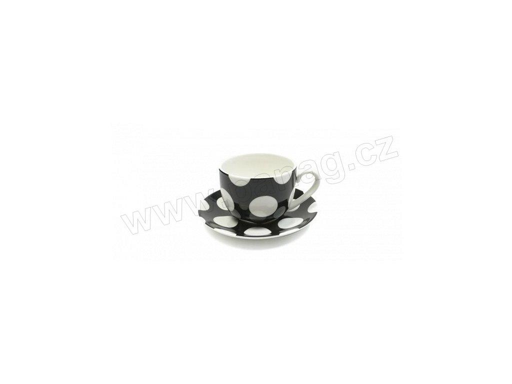 Porcelánový šálek s podšálkem na Cappuccino 250 ml černý - Polkadot - Maxwell&Williams