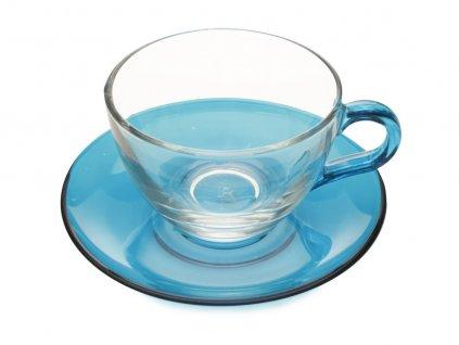 Skleněný šálek s podšálkem capuccino modrý 250 ml - Maxwell Williams