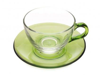 Skleněný šálek s podšálkem zelený 250 ml - Maxwell Williams