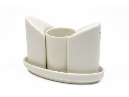Slánka a pepřenka bílá s nádobkou na párátka - WHITE BASICS - Maxwell&Williams