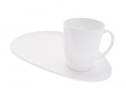 Hrnek s podšálkem na snídani bílý - WHITE BASICS - Maxwell&Williams
