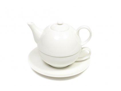 Konvice na čaj se šálkem bílá - WHITE BASICS - Maxwell&Williams
