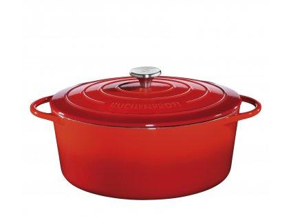 Litinový hrnec oválný PROVENCE červený - 40 cm - Küchenprofi - 0402001440