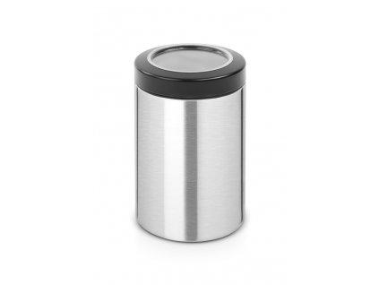 Dóza průhledné víko 1,4 L Matná ocel FPP / černé víko