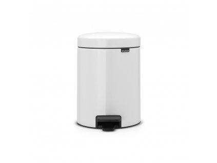 Pedálový koš newIcon - 5 L, kovové vědro, Bílá