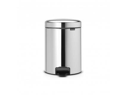 Pedálový koš newIcon - 5 L, kovové vědro, Lesklá ocel