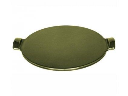 Keramický tác na pizzu 35,5 cm oliva