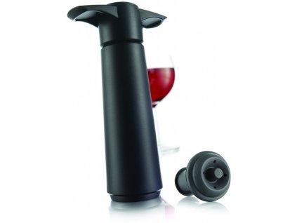 Vinná vakuová pumpa černá + 2 uzávěry