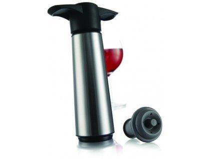 Vinná vakuová pumpa nerezová + 2 uzávěry + 2 nálevky