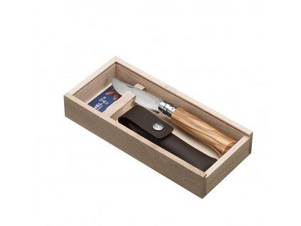 001004 Zavírací nůž VRI No 08 Oliva s pouzdrem a dárkovou krabičkou od Opinel pouze pouzdro
