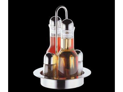 Nerezová menáž na ocet/olej/pepř/sůl