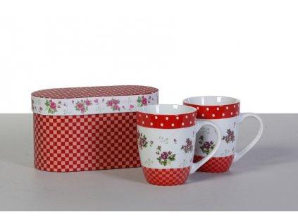 Set porcelánových hrníčků - červená