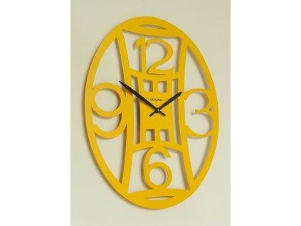 Designové nástěnné hodiny ovál 48 cm žluté - 377