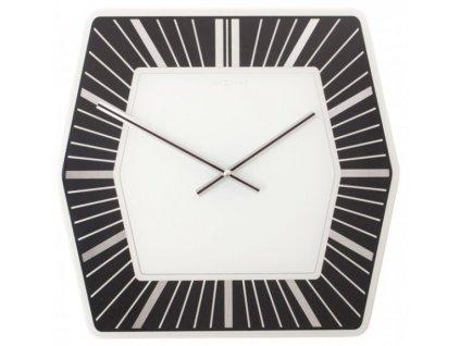 Skleněné nástěnné hodiny HEXAGON BLACK