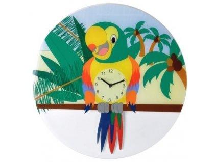 Dětské nástěnné kyvadlové hodiny 8168 Papoušek Lorre 43cm
