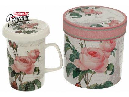 Pink Rose hrnek se sítkem a víčkem 300 ml Paramit H52