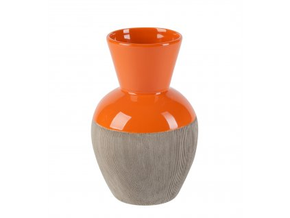 Váza Rotund 9x15x20 cm - šedo-oranžová
