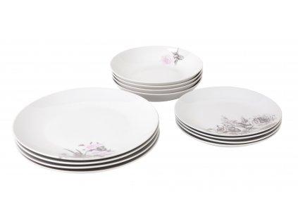 Jídelní souprava talířů 12 ks z kolekce porcelánu ROSE WHITE od by inspire.
