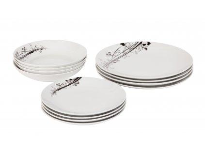Jídelní souprava talířů 12 ks z kolekce porcelánu BLACK od by inspire.