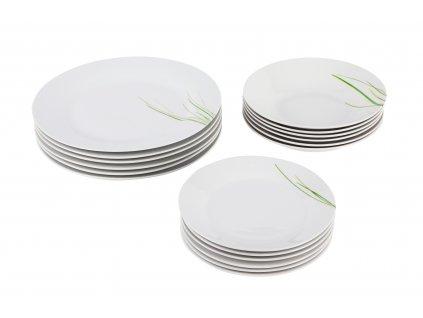 Sada talířů 18 ks z kolekce porcelánu GRASS od by inspire