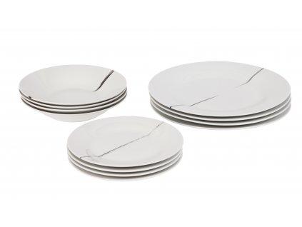 Porcelánová sada talířů 12 ks z kolekce porcelánu BRUSH od by inspire.