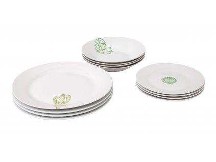 Jídelní souprava talířů 12 ks z kolekce porcelánu CACTUS od by inspire.
