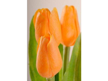 107O1 Francouzský umělý tulipán světle oranžový 40 cm