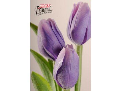 Dekorativní květina francouzský tulipán fialovo bílá - Paramit - 107V2
