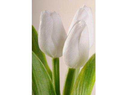107W1 Francouzský umělý tulipán světle bílý 40 cm