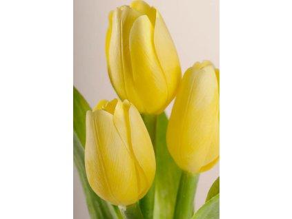 107Y1 Francouzský umělý tulipán světle žlutý 40 cm