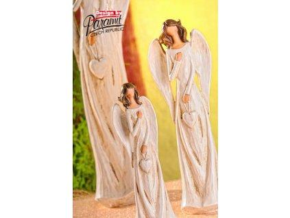 Figurka Anděl Líba se srdcem 28 cm - Paramit - X060-28