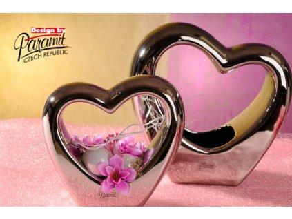 11040 16S Svícen ve tvaru srdce Marilyn stříbrný 16 cm Paramit