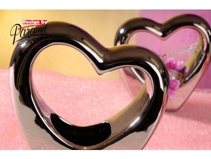 11040 20S Svícen ve tvaru srdce Marilyn stříbrný 20 cm Paramit