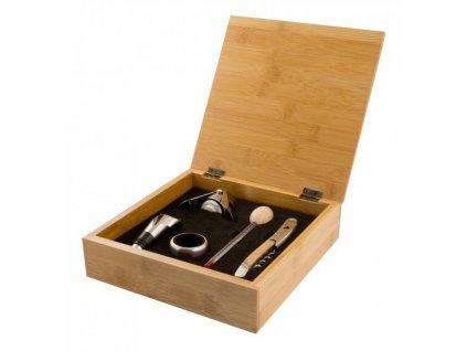 Luxusní souprava na víno - dřevo/nerez - by inspire
