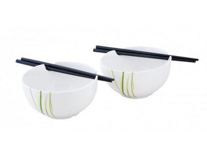 Porcelánový Japonský set 2 misek a 2 hůlek GRASS - by inspire