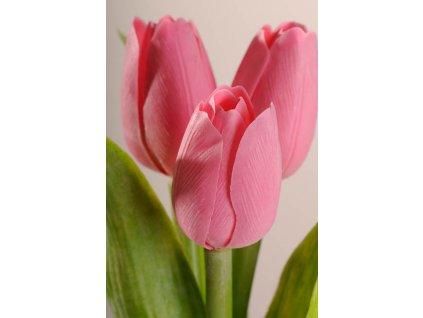 107P1 Francouzský umělý tulipán světle růžový 40 cm