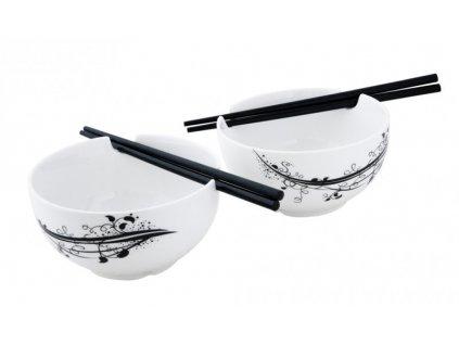 Porcelánový japonský set 2 misek a 2 hůlek BLACK - by inspire