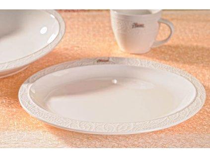 Lísteček jídelní talíř bílý 25 cm