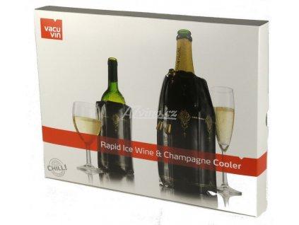 chladící návlek na šampaňské a víno črno zlatá