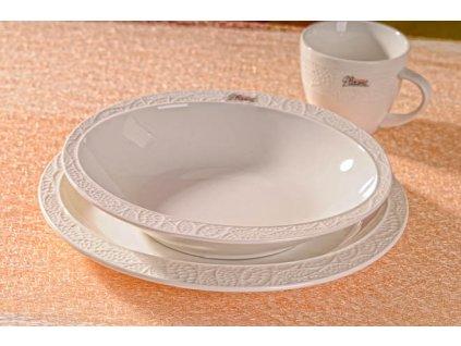 Lísteček polévkový talíř bílý 22 cm