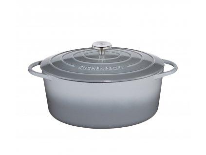 Litinový hrnec oválný PROVENCE šedý - 35 cm - Küchenprofi - 0402001935