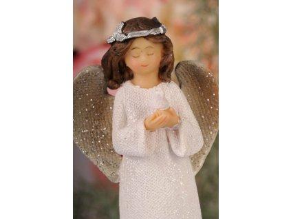 X154 Anděl Bulík s holubicí 14 cm