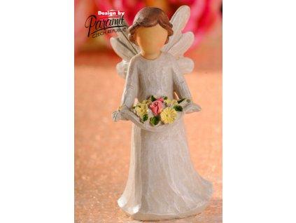 4134 13 anděl s nůší květin 13 cm