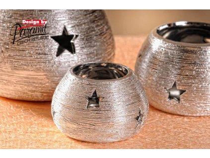 X147 8S svícen Noel stříbrný 8 cm