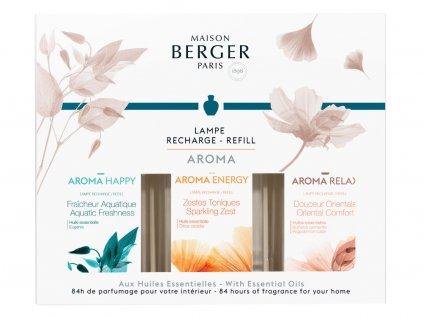 23956 Sada náplní do katalyckých lamp: Happy, Relax, Energy 3x180 mlod Maison Berger Paris