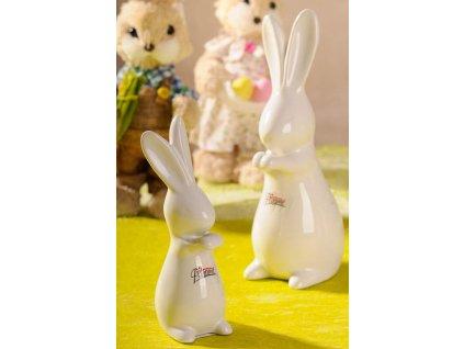 Dekorační porcelánový zajíc Fešák 19 cm bílý